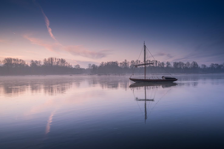 Sunrise on Loire river